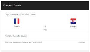Franta – Croatia, finala Campionatului mondial de fotbal